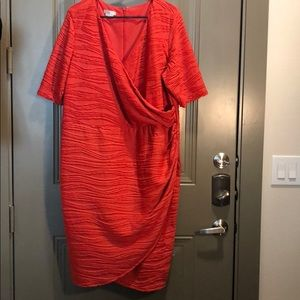 London Times Wrap Shirred Side Coral Dress 22W-24W